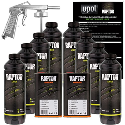 U-Pol Raptor Black Urethane Spray-On Truck Bed Liner Kit w/Free Spray Gun, 8 Liters]()
