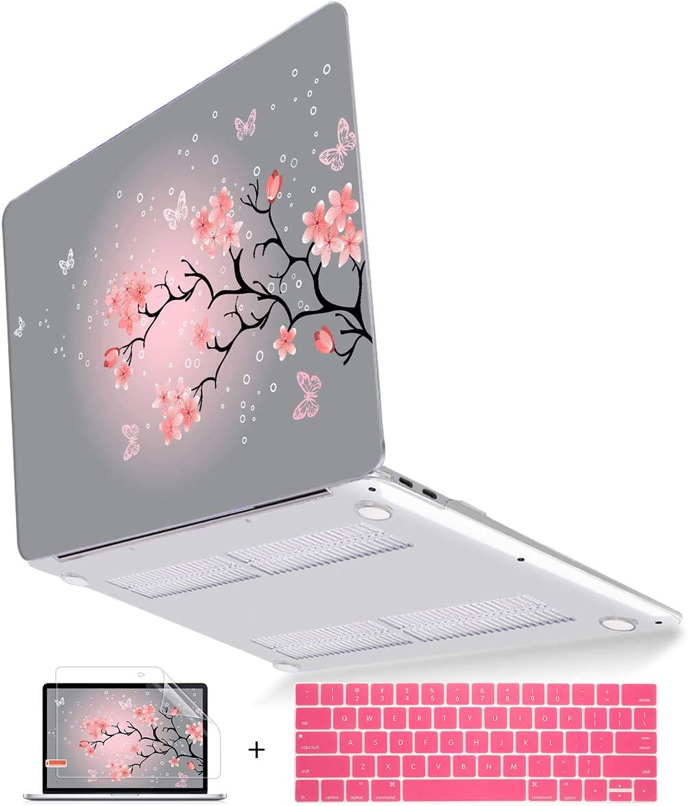 Mektron MacBook Pro 13 Case 2019 2018 2017 2016 Release A2159 A1989 A1706 A1708 w/o Touch bar, Floral Print Hard Case & Dust Plug & Keyboard Cover, Butterfly Cherry Blossom