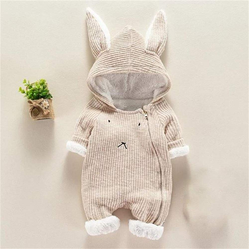 Infant Baby Boys Girls Cartoon Jumpsuit Clothes Long Sleeve Warm Thicken Zipper Hooded Romper