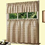 Dainty Home Jeanette Kitchen Curtain Set, Ivory