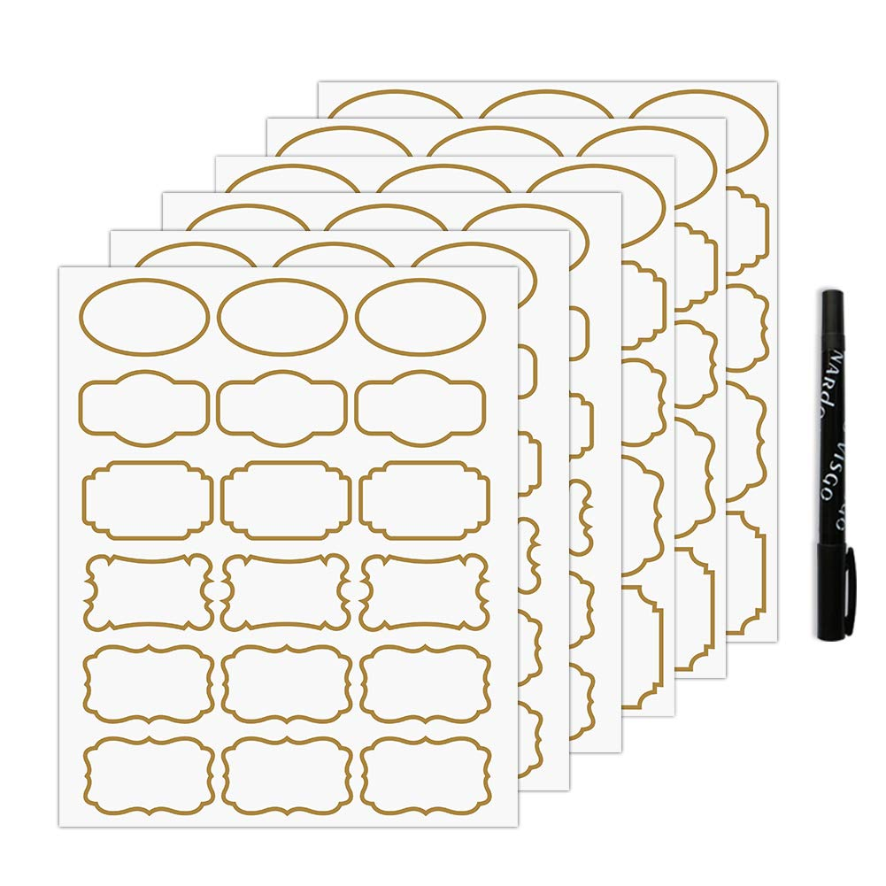 Nardo Visgo Transparent Clear Stickers Labels with Gold Border,Removable Waterproof Transparent Jars Labels in Assorted Sizes for Jars,Storage Containers or Craft Decoration,93pcs by Nardo Visgo