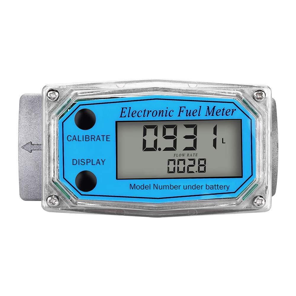 Digital Turbine Flow Meter,1″ Digital LCD Display with NPT Counter Gas Oil Fuel Flowmeter,Pump Flow Meter,Diesel Fuel Flow Meter for Measure Diesel, Kerosene, Gasoline