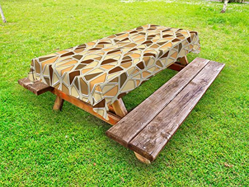 Modern Outdoor Tablecloth by Lunarable, Street Design Wall Pattern Rock Like Image in Brown Tones Artwork, Decorative Washable Picnic Table Cloth, 58 X 120 Inches, Cream Salmon and Sand Brown - Picnic Table Patterns