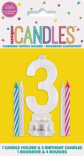 Unique Party- Portavelas de cumpleaños intermitente número 3 con 4 velas (37533)