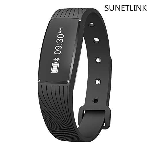 Fitness Tracker, SUNETLINK Waterproof Smart Wristband ,Bluetooth Wireless Sport Bracelet, Smart Watch Heart Rate Band Monitor for iOS/Android ...