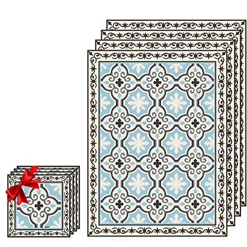(Camoone Placemats Set of 4 Dining Table Set - Elegant Toscana Decor - Easy Clean, Insulated, Hypoallergenic, Non-Toxic, PVC 11.8x15.75x0.08 Inches + Bonus 4x Matching Coasters - Light Blue / Off-White)