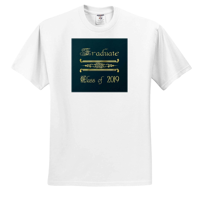 Image of Graduate Elegant Font Design Gold on Green Class of 2019 3dRose Beverly Turner Graduation Design T-Shirts