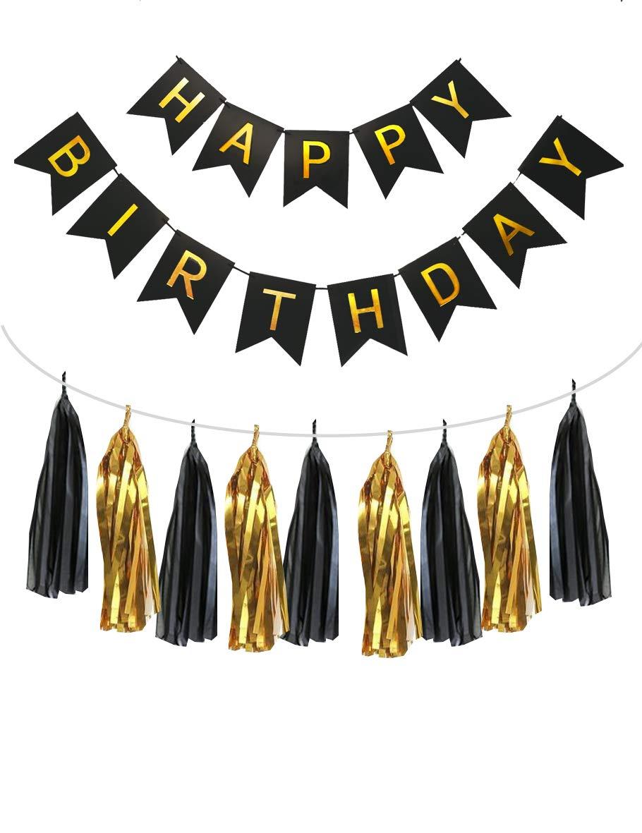 Amazon.com: Juego de 15 cortinas de papel negro y dorado ...
