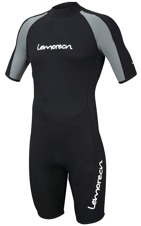 Lemorecn Wetsuits Adult's Premium Neoprene Diving Suit 3mm Shorty Jumpsuit (3035blackgrey- XL) by Lemorecn