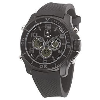 US Army Wrist Armor C24 Watch Blk Stealth Dial & Blk Rubber Strap