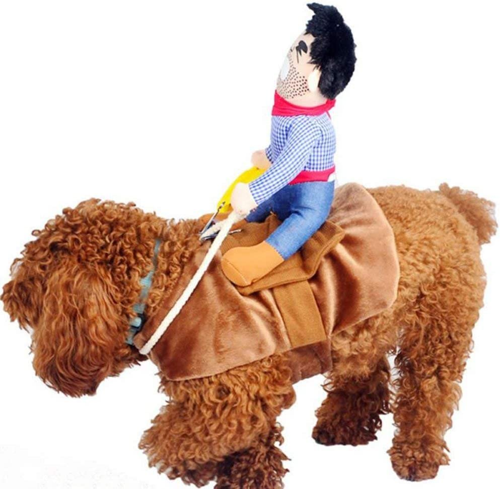 MICOKA Cowboy Rider Dog Costume for Dogs Outfit Knight Style with Doll and Hat Pet Costume for Halloween Day (XL)