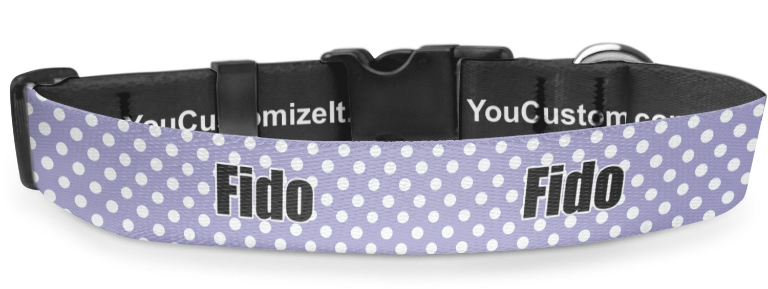 RNK Shops Purple Damask & Dots Deluxe Dog Collar - Toy (6'' to 8.5'') (Personalized)