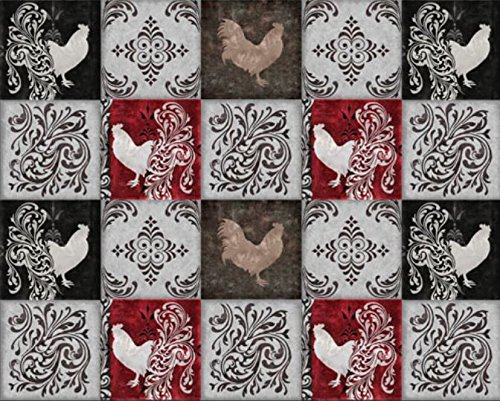 Quilting Treasures 'Bonjour' Rooster patches on Cotton Fabric
