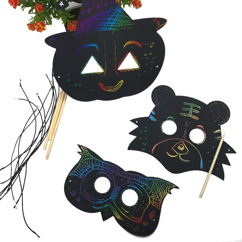 Odowalker Magic Scratch Art Rainbow Scratch Paper Animal Masks Face Diy Gift Scratchboard Art Kits For Kids Birthday Party Supplies 36 Pcs Rope 12 Pcs Wooden 12 Chinese Zodiac Scratchboards Foil