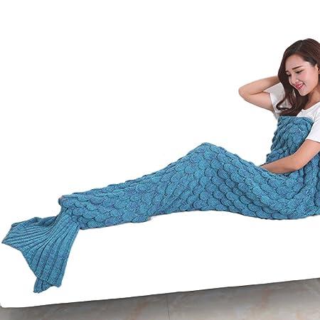 Manta suave en forma de cola de sirena (189,9 cm x 89,92 cm), ideal como saco de dormir, para cama, sofá o acampadas: Amazon.es: Hogar