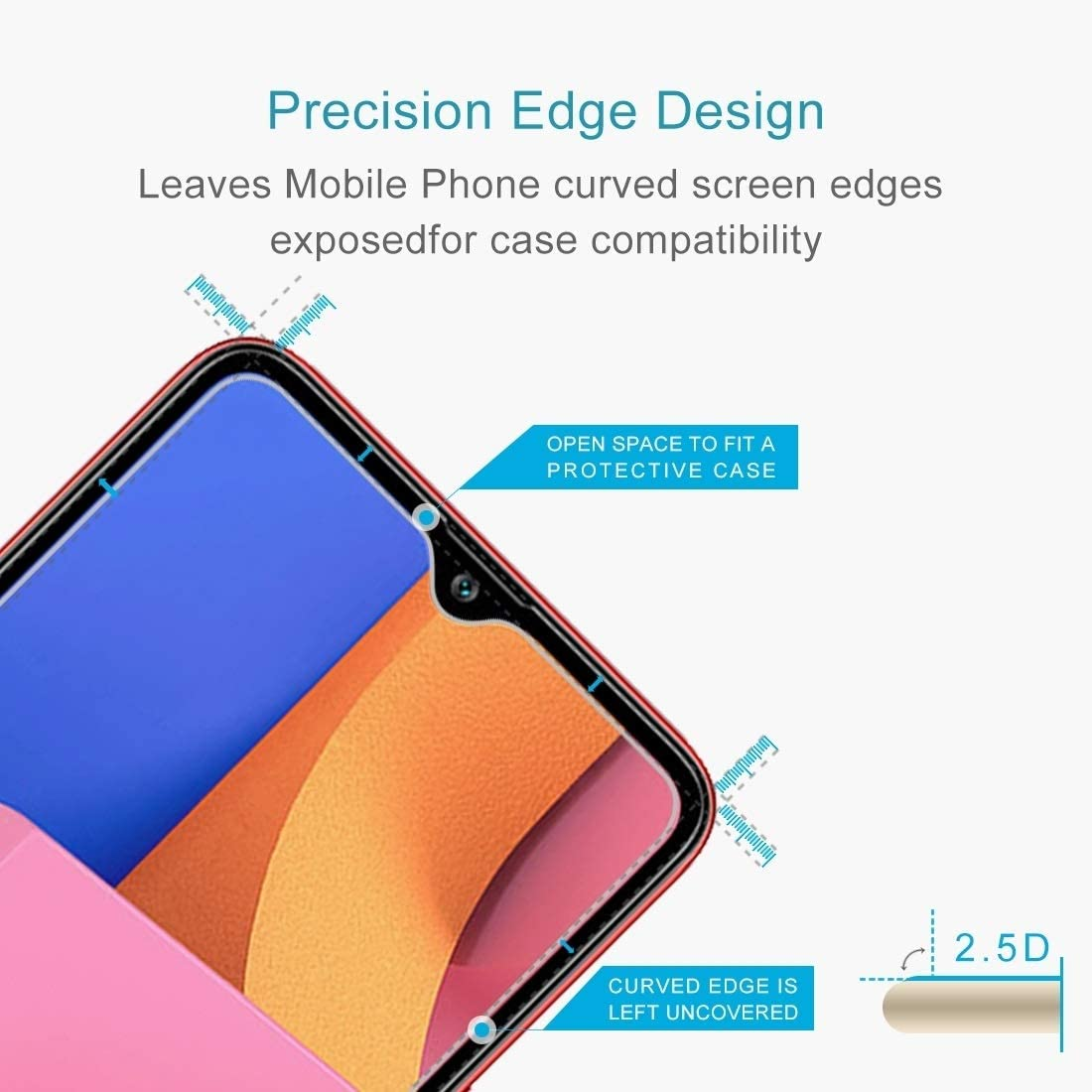 MDHT TNH AYSMG 50 PCS 0.26mm 9H 2.5D Tempered Glass Film for Galaxy A20s