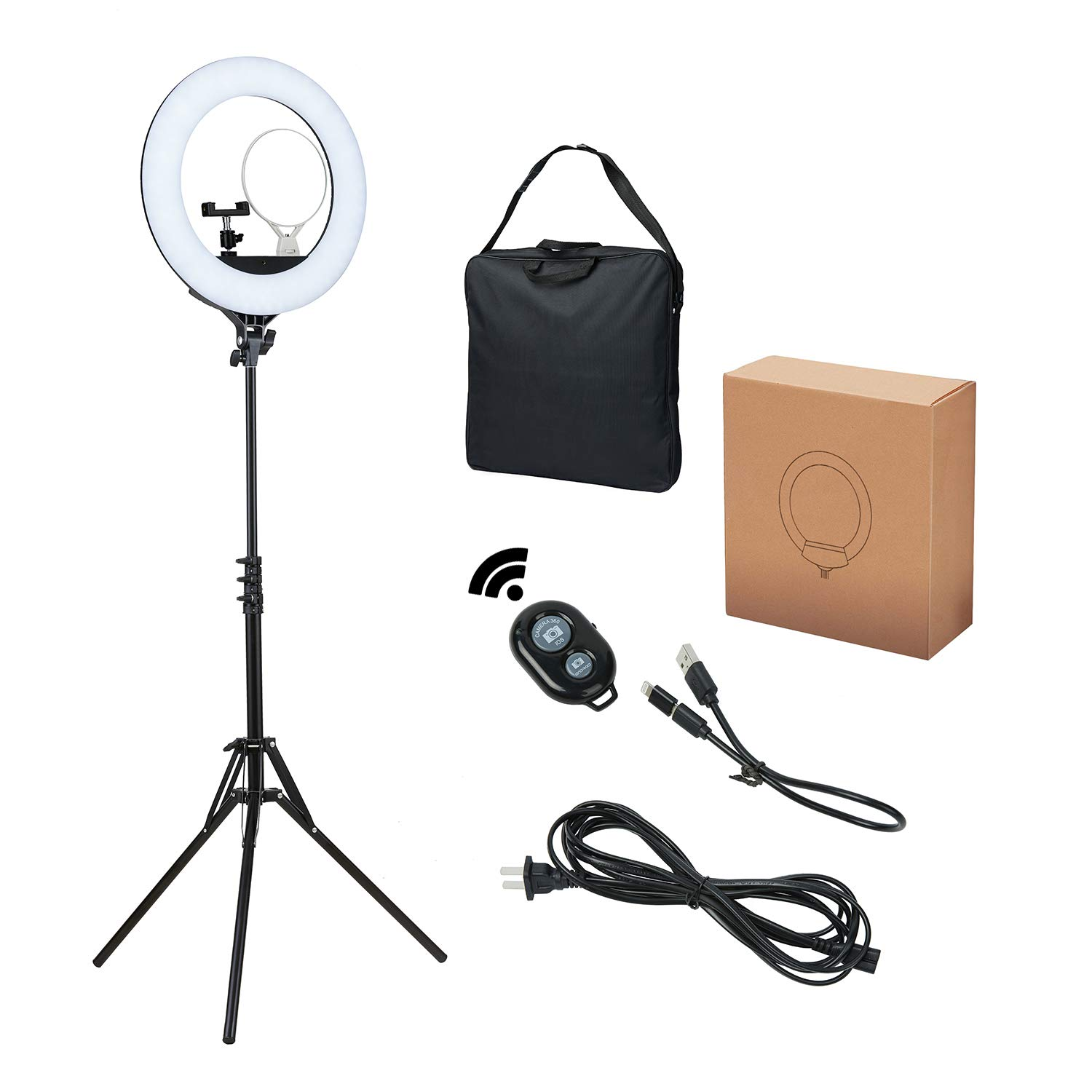 Ring Light, DEDAKJ 18 inch 480 pcs 80W Dimmable LED Ring Light with Cell Phone Holder/Tripod Stand/Remote Control/Carrying Bag and Dual Mirror for YouTube Videos/Take Pictures/Makeup O Ring Light