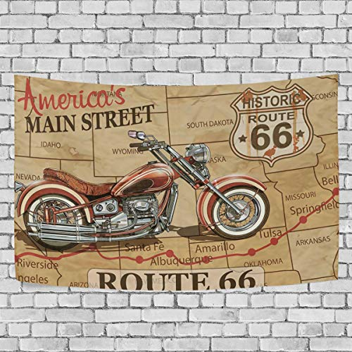 (MISSMON Tapestries Wall Hangings Route 66 Motorcycle Large Carpet Blanket Home Decorations for Bedroom Dorm Decor Bed Covers)