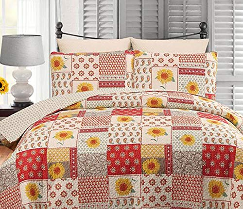 Quilt Twin Rooster - Country Farmhouse: Gypsy Paisley Sunflowers & Flowers Twin Quilt & Sham (2 Piece Set) + Homemade Wax Melts