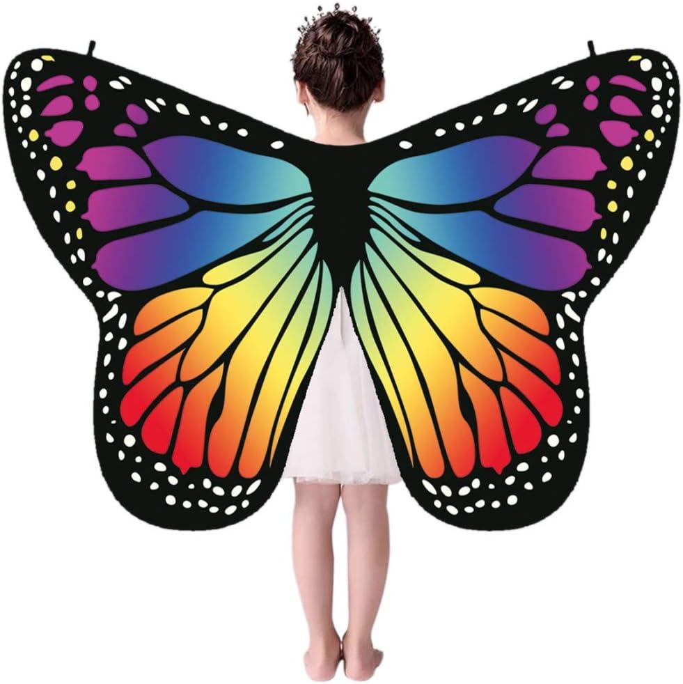 Miyanuby Kinder M/ädchen Schmetterlings Fl/ügel Umh/änge Nymphe Pixie Kost/üm Weiche Stoff Halloween Party Prop Dress-up Capes Kost/üm