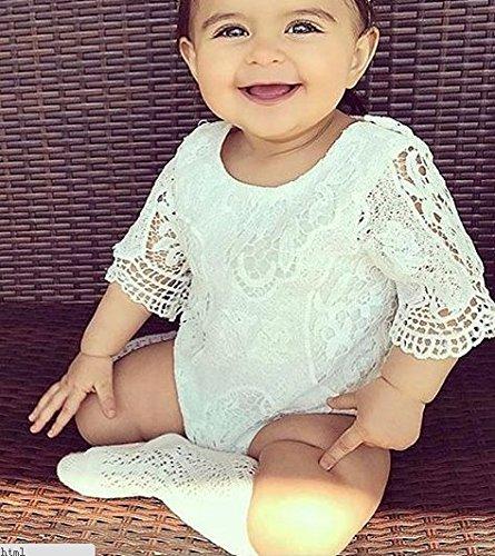 8e9f8e57ced8 E-SHA Newborn Baby Girl White Lace Romper Ruffle Sleeve Sunsuit ...