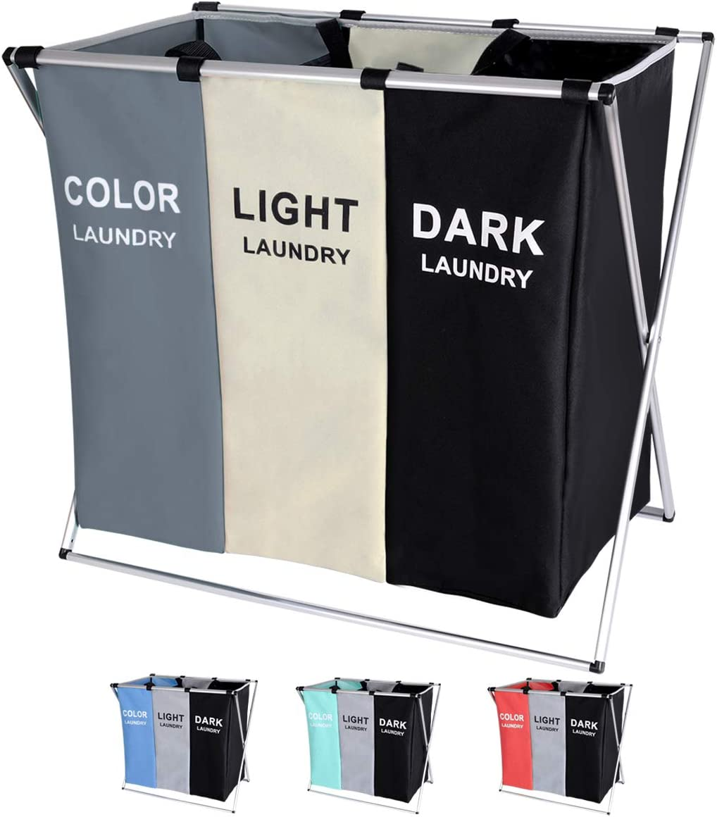 BRIGHTSHOW 135L Laundry Cloth Hamper Sorter Basket Bin Foldable 3 Sections with Aluminum Frame 62cm × 37cm x 58cm Washing Storage Dirty Clothes Bag for Bathroom Bedroom Home (White+Grey+Black)