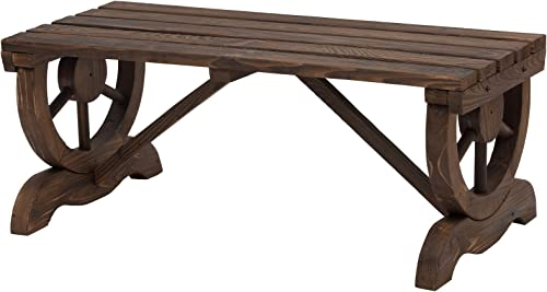 Outsunny Rustic Wood Wheel Outdoor Garden Bench