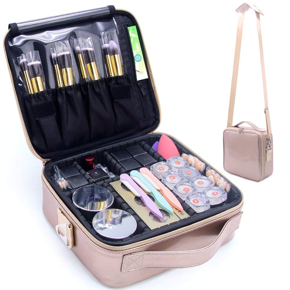 MONSTINA Makeup Travel Case, Makeup Bag Train Case Make Up Organizers Professional Travel Cosmetic Brush Storage Box with Shoulder Strap(Rose Gold)