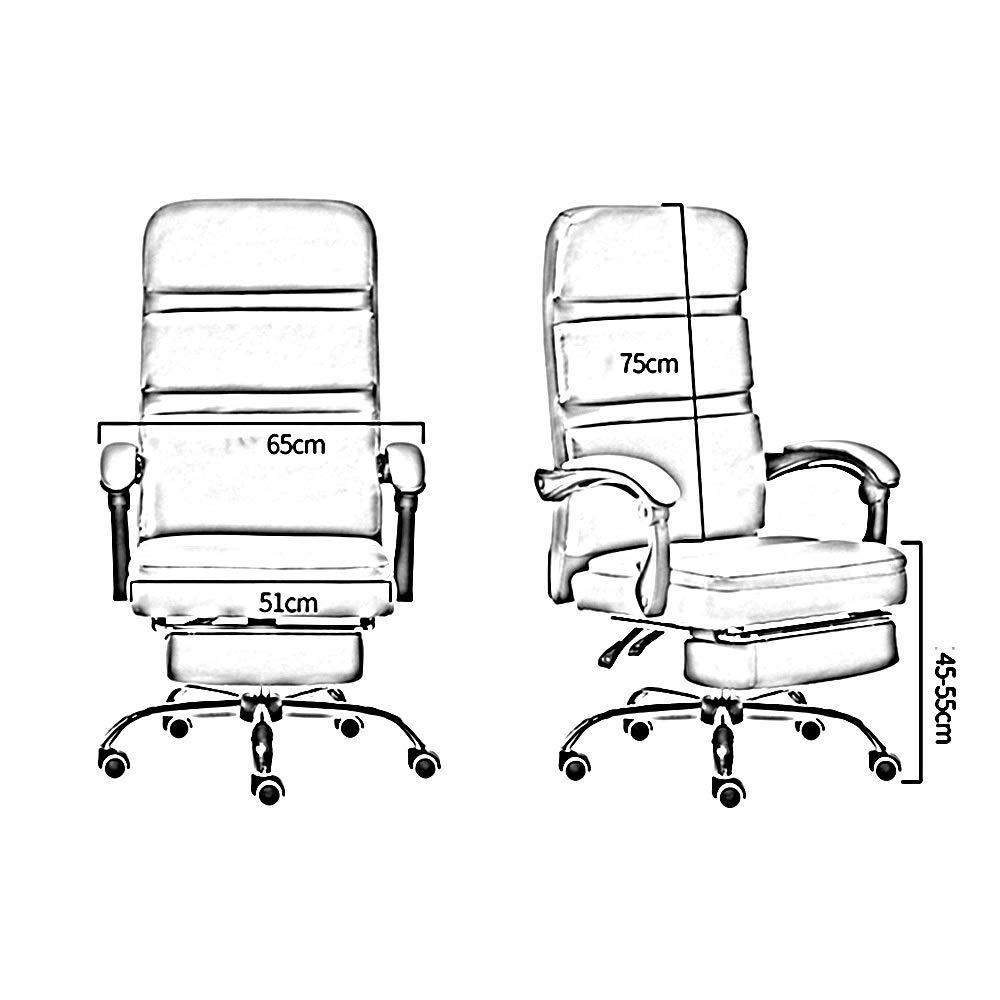 Dalovy bekväm högrygg PU-läder spelbordsstol, med fotstöd liggande ergonomisk kontorsstol bärkapacitet: 150 kg BLÅ