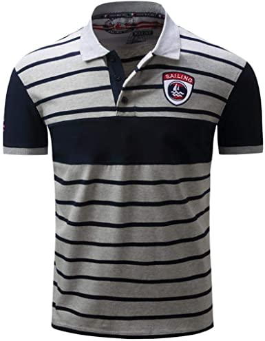 Camisa De Polo Hombres Camisa De Retro Polo De Rayas De La ...