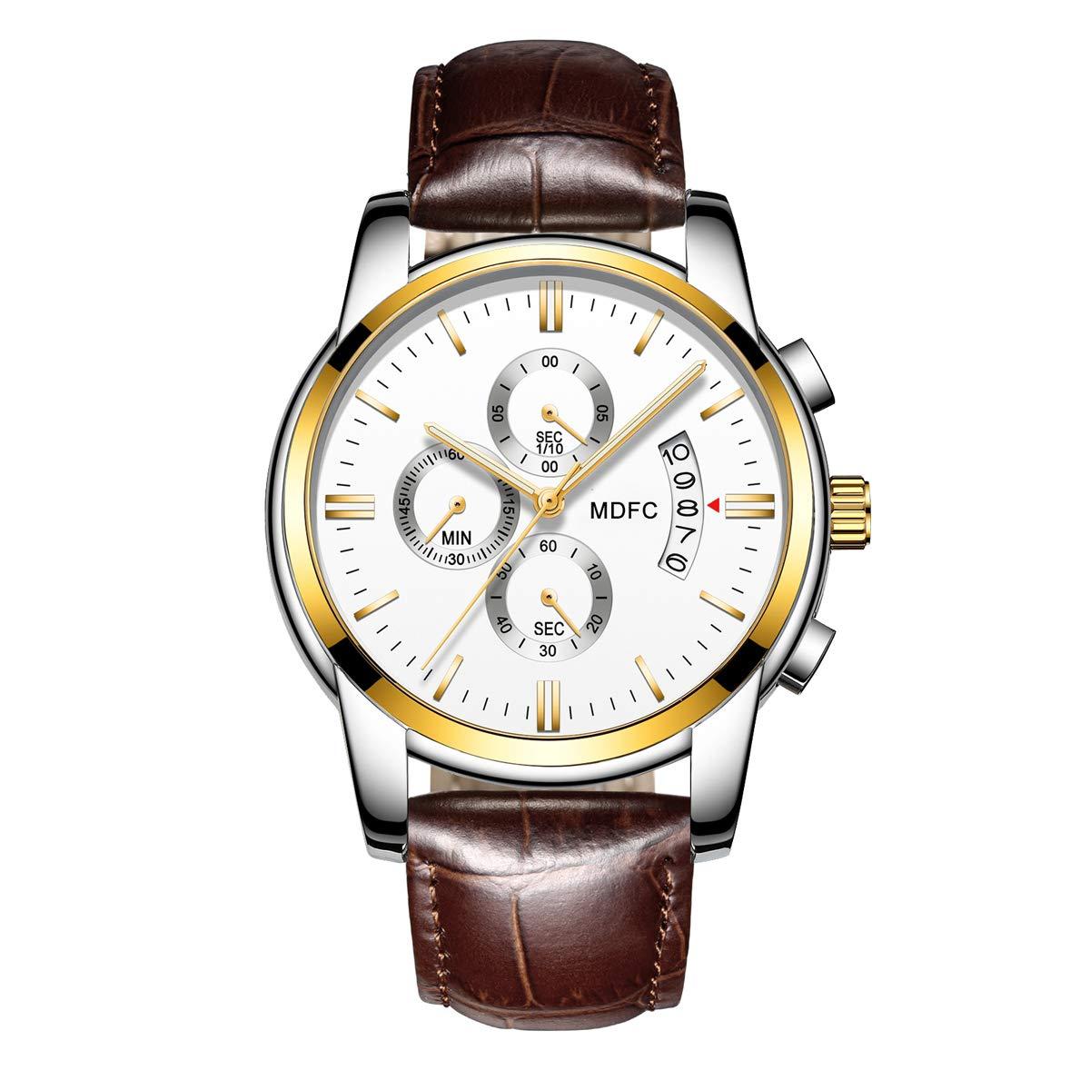 Relojes para Hombres, Reloj con Correa de Cuero de Cuarzo Ideal para atuendos Casuales, Deportivos y Formales con Resistencia al Agua de 30 MTS. product image