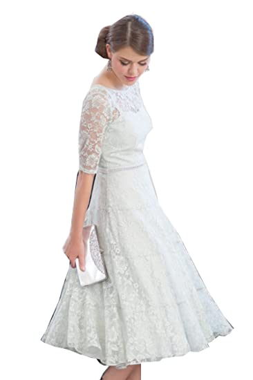6ac234bc289 Kelaixiang White Lace Tea-Length Mother Of the Bride Dress A-line Style  Women