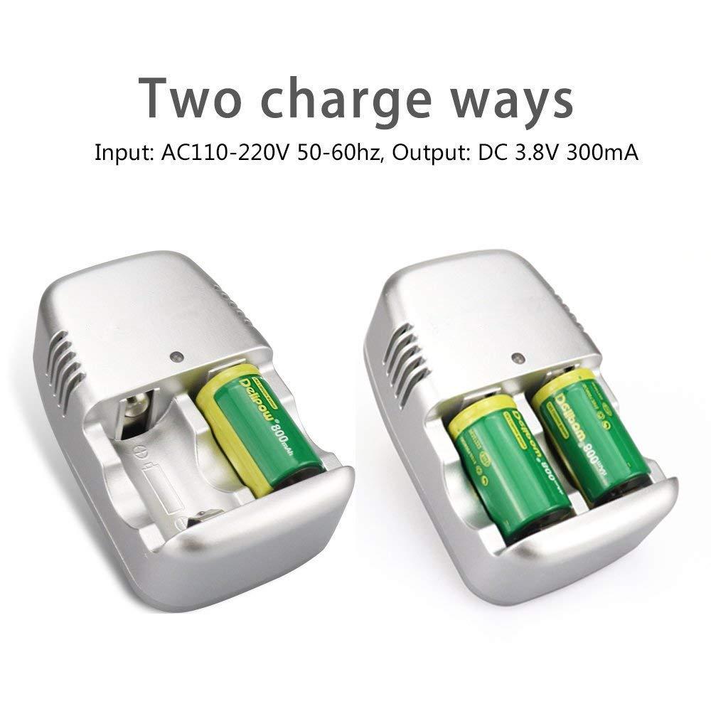 2 Pilas de Litio CR2 15270 de 3 V, 800 mAh, Cargador de batería ...