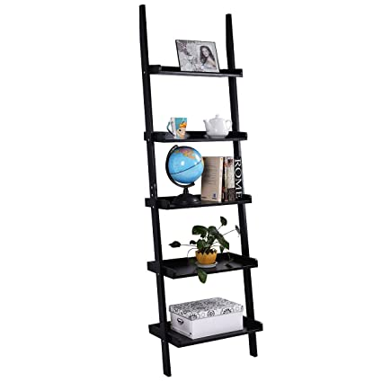 quality design 4bd79 0b298 Tangkula Ladder Bookcase 5-Tier Wood Leaning Shelf Wall Plant Shelf Ladder  for Home Office Modern Flower Book Display Shelf Storage Rack Stable ...