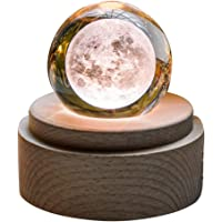 Tricherry Wooden Music Box Moon Style Luminous Rotating 3D Crystal Night Light Musical Box Kids Girls Christmas/Birthday/Valentine's Day Romantic Glowing Spherical Music Box
