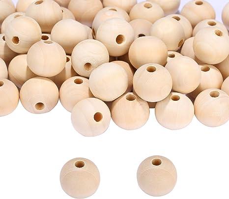 50 stücke natürliche hölzerne unlackiert handwerk perlen diy schmuck machen