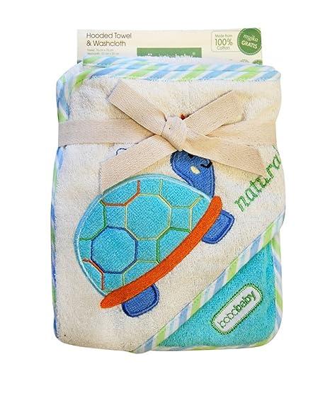 blueberryshop bordado algodón con capucha de baño toalla de playa piscina bebé Kid Todler libre manopla