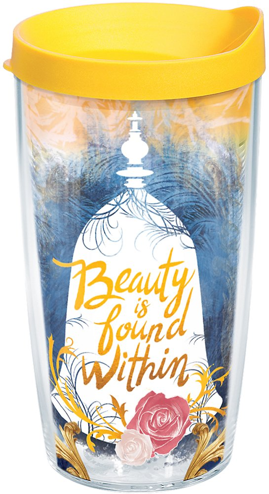 Tervis 1245165 Disney Beast Beauty is Found Within Insulated Tumbler with Wrap and Yellow Lid 16oz Clear