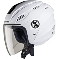 Steelbird SBA-6 Hook Dashing Open Face Helmet (Medium 580 MM, Dashing White with Plain Visor)