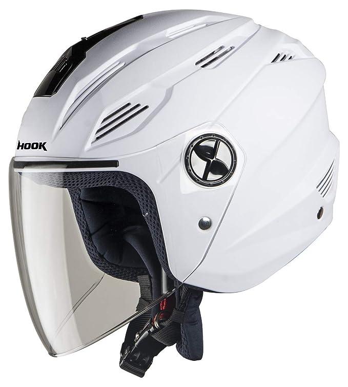 Steelbird SBA-6 Hook Dashing Open Face Helmet (Medium 580 MM, Dashing White with Plain Visor)