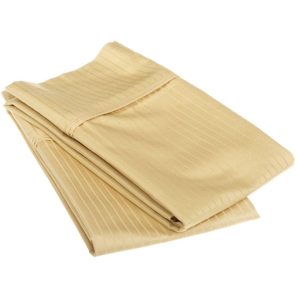 エジプト綿1000スレッドカウントオーバーサイズ枕カバーセットストライプ 標準 ゴールド 1000SDPC STGL B005TPLXKM 標準|ゴールド ゴールド 標準