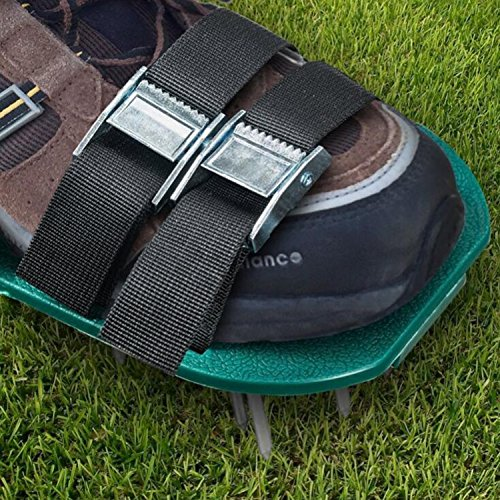 ODIER Lawn Aerator Shoes Cleats Aerating Lawn Soil Sandals 3 Adjustable Straps Heavy Duty Spiked Sandals for Aerating Your Lawn or Yard (Model-A) by ODIER (Image #4)