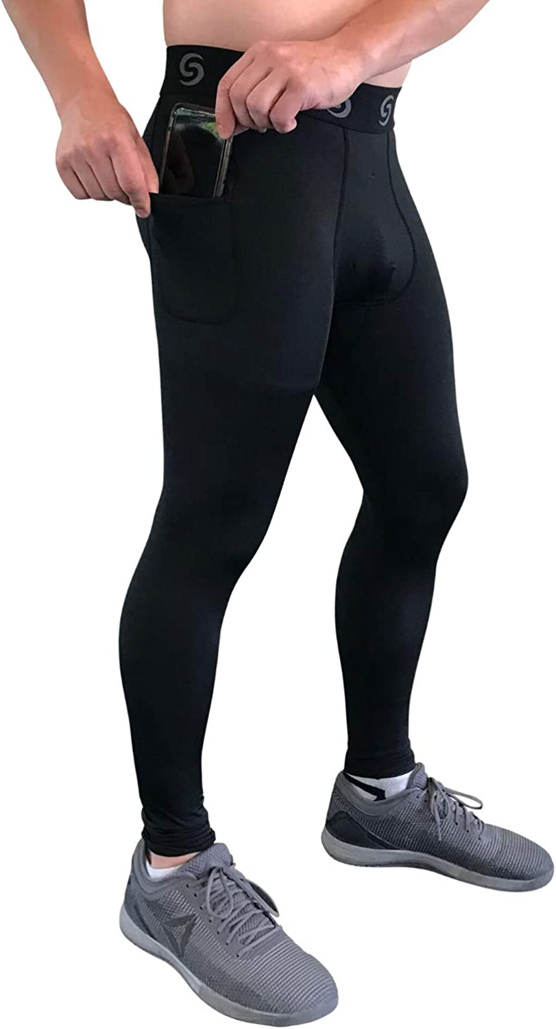 Sport-it Men's Compression Workout Shorts Leggings with Pockets for Phone - Base Layer Tights, Short Pants