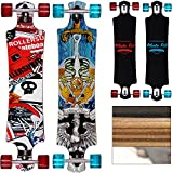 Longboard 'ORIGINAL Atlantic Rift' Drop Through Bauweise - ABEC 9 Lager Komplettboard Skateboard Skull Surfer Motivauswahl