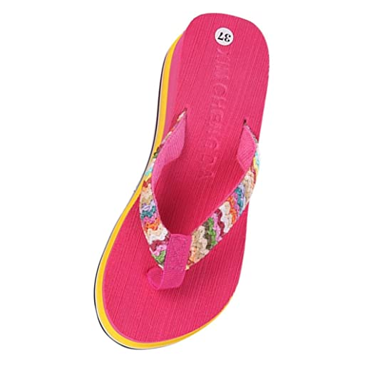 a0da04834bf Women Summer Platform Flip Flops Rainbow Sandals Beach Wedge Thongs on  Kinitting Strap (6