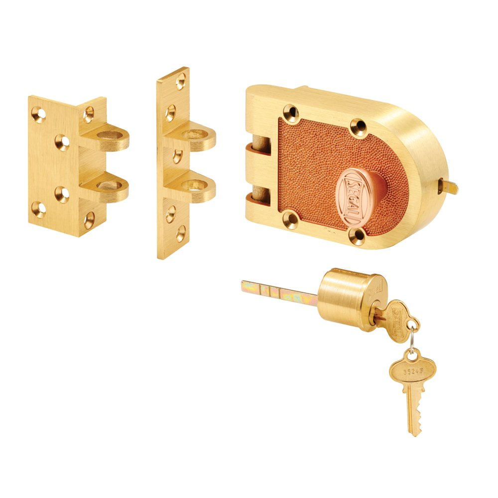 Segal SE 15361 Deadbolt – Jimmy-Proof Design Prohibits Forced Entry by Spreading of Door Frames – Solid Bronze Alloy, Brushed Brass, Angle and FLAT Strike, Single Cylinder