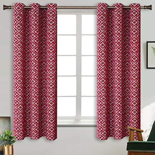 Polyester Printed Grommets - BGment Red Blackout Curtains for Bedroom - Grommet Thermal Insulated Room Darkening Moroccan Printed Curtain for Living Room, Set of 2 Panels, 38 x 63 Inch