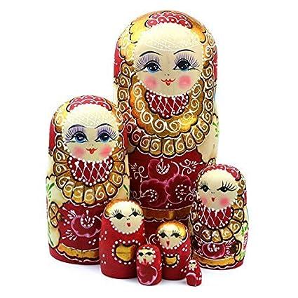 Biggroup 7PCS fatto a mano in legno tradizionale di Matrioska Matrioska, rosso Red