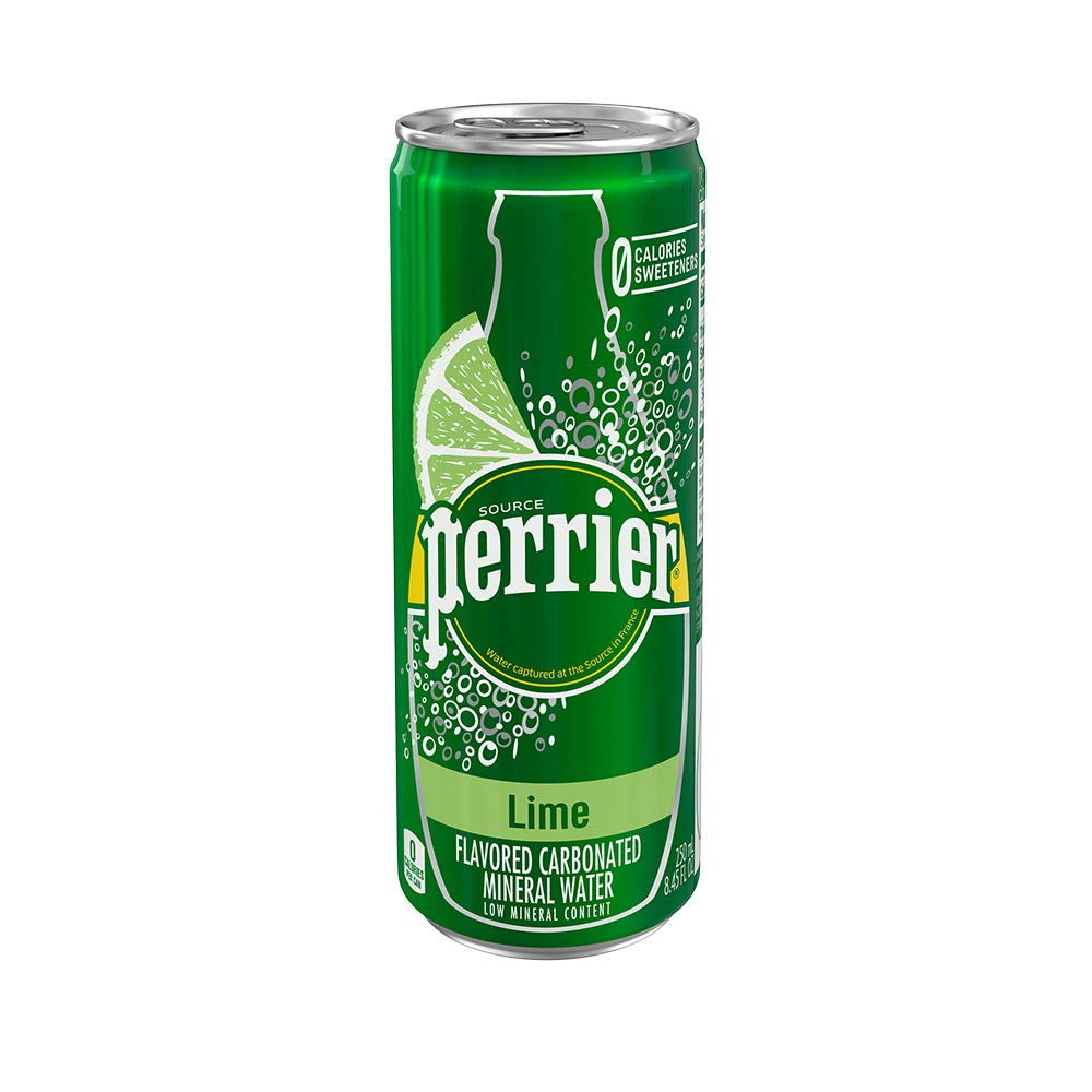 Perrier Lime Flavored Carbonated Mineral Water, 8.45 fl oz. Slim Cans (10 Pack)