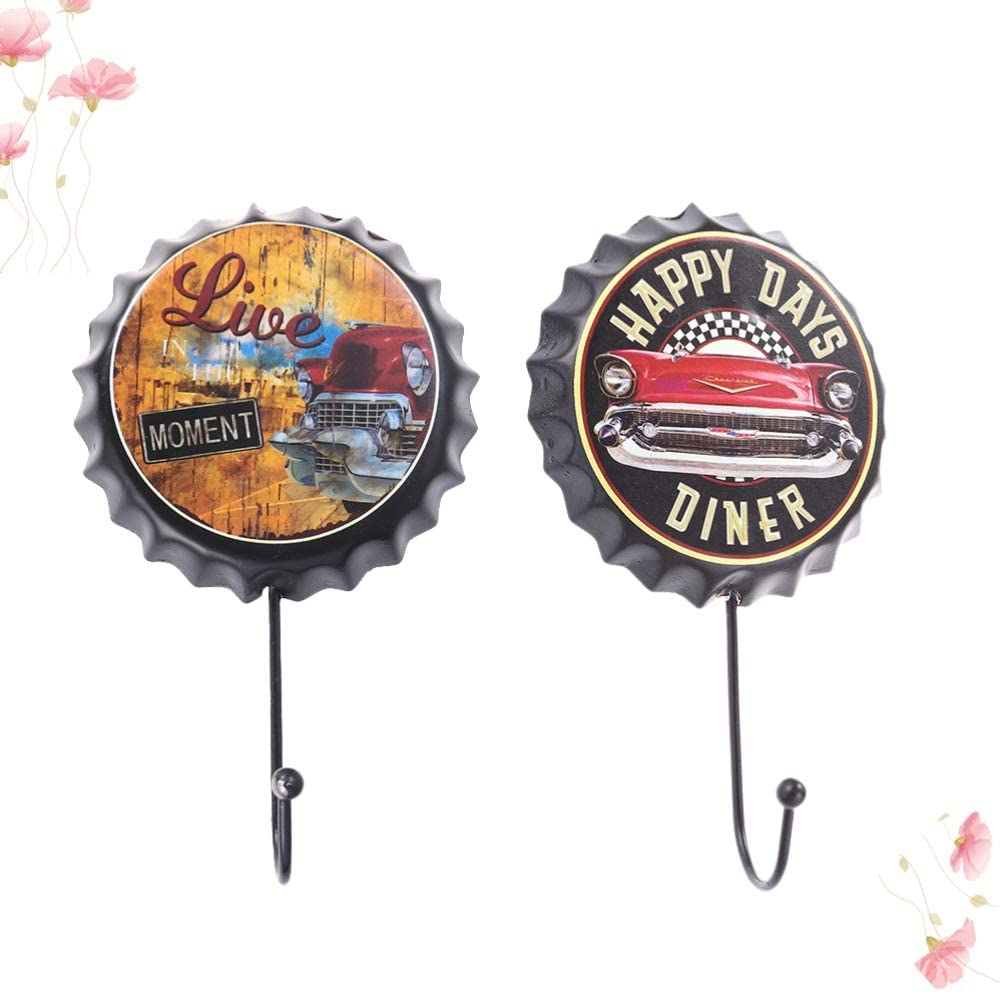 IMIKEYA 2pcs de Ganchos para Ropa Ganchos Decorativos de Tapa de Botella de Cerveza de Hierro Retro Organizador de Bolsas Ganchos para Colgar Llaveros Decoraci/ón de Barra Perchero